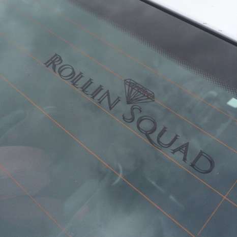 SMALL ROLLIN SQUAD STICKER -  MATT BLACK