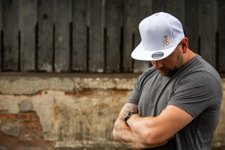 Snapback Hat - White - Small Gold RS