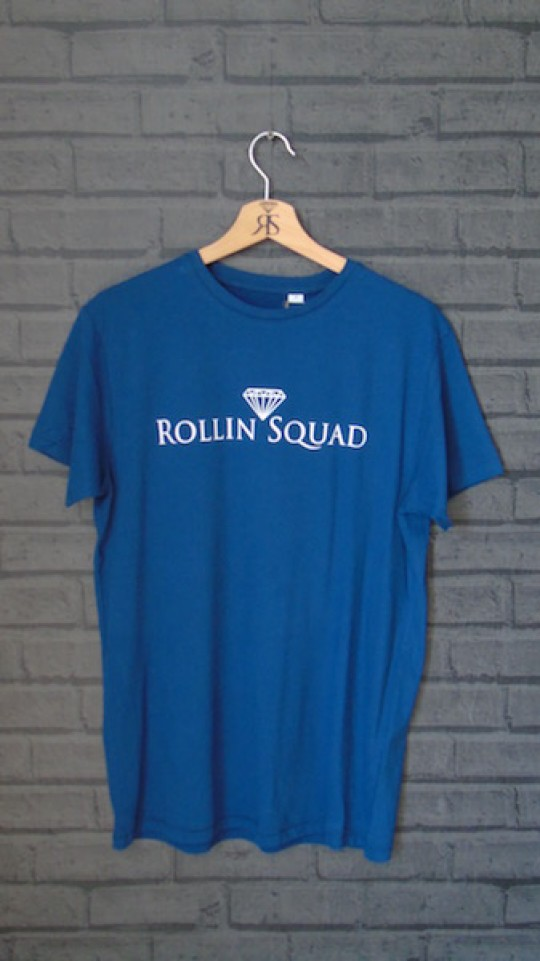 Rollin Squad Mens Swiss Navy Tee - White Detail