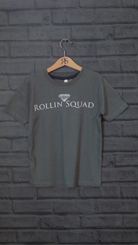 Kids Tee Charcoal - White Rollin Squad Logo