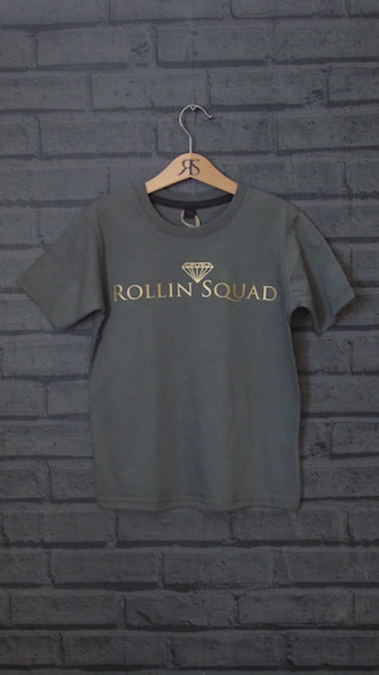 Kids Tee Charcoal - Gold Rollin Squad Logo
