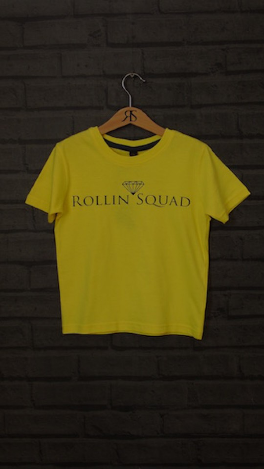 Kids Tee Yellow - Black Rollin Squad Logo