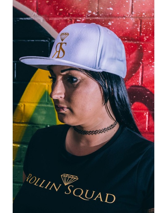 Snapback Hat - White - Large Gold RS