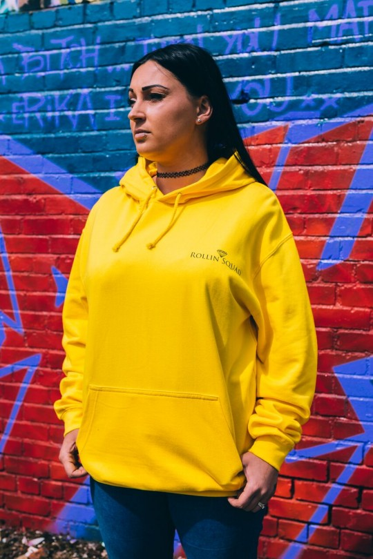Hoodie College - Yellow - Rollin Squad Logo