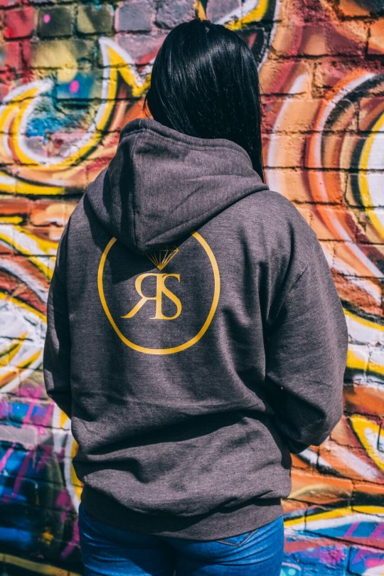 Hoodie Zip -  Charcoal - RS Logo - Gold Detail