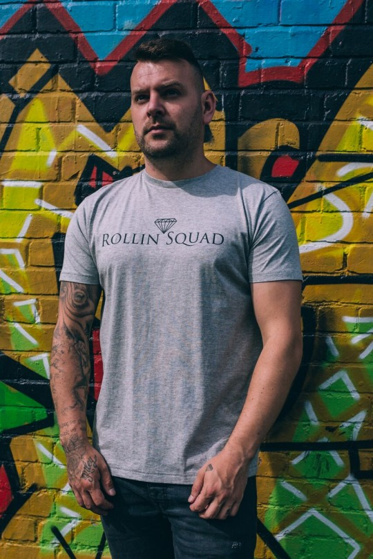 Rollin Squad Mens Heather Tee - Black Detail