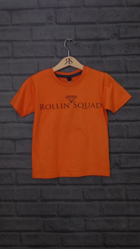 Kids Tee Orange - Black Rollin Squad Logo