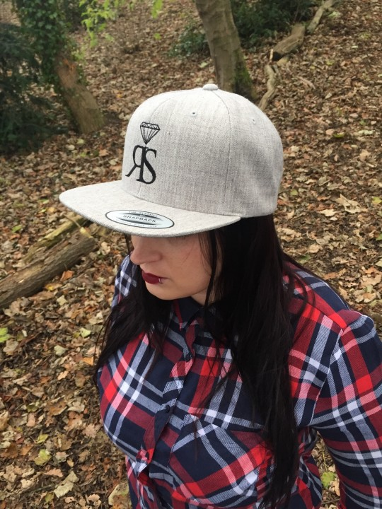 Snapback Hat - Heather Grey - Large Black RS
